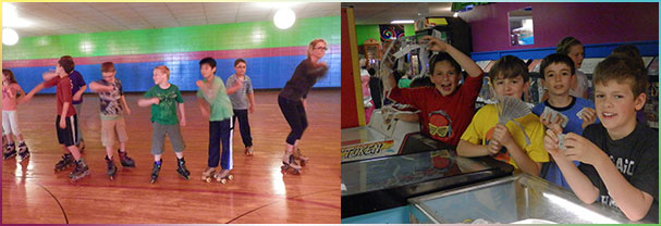 Kids enjoying birthday parties at Skateville
