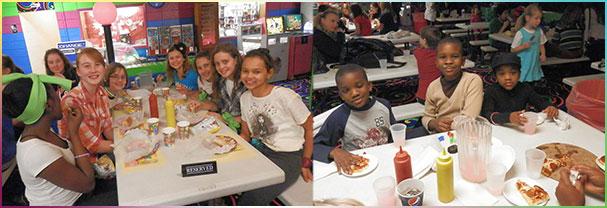 Kids enjoying a birthday party at Skateville