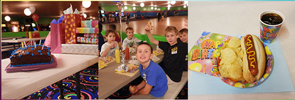 Kids enjoying a birthday party at Skateville