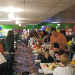 Kids enjoying birthday parties at the Skateville snack bar
